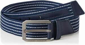 Under Armour 1351471 Mens Sz 38  Academy Blue Striped Stretch Golf Belt Leather