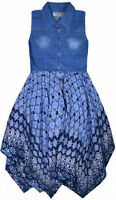 Girls Sleeveless Denim Dress New Kids Jeans Top Cotton Floral Party Dresses 3-11
