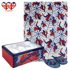 Marvel Spiderman Metal Box with Blanket and Slippers, Official Licensed(3Sizes)