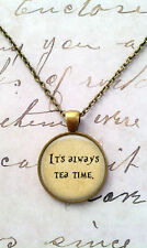 Alice In Wonderland Necklace,Tea Time,We're All Mad Here Pendant,Quote jewelry