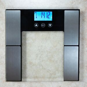 Digital Glass Scale Body Analyzer-Tracks Fat Weight Hydration Muscle/Bone Mass