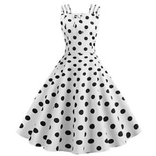 Womens 50s Vintage Pinup Rockabilly Floral Polka Dot Belt Bow Party Swing Dress