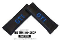 """2x Seat Belt Covers Pads Black Leather """"GTI """" Blue Embroidery"""