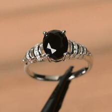 2Ct Oval Cut Black Diamond Solitaire Engagement Ring Solid 14K White Gold Finish