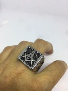 1980's Vintage Large Silver Stainless Steel Size 9 Men's Free Mason G Ring