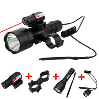5000LM XM-L T6 LED Flashlight Hunting Torch Lamp+Tactical Red Laser+Switch+Mount
