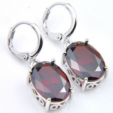 Amazing Oval Shaped Natural Stone Red Fire Garnet Gems Silver Dangle Earrings