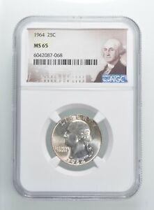 1964 MS65 Washington Quarter Silver NGC Graded - Choice Unc *377