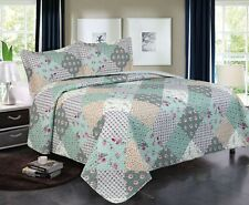 3 Piece Queen / King Quilt Plaid Patchwork Bedspread Bedding Set