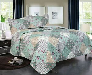 3 Piece Queen / King Quilt Plaid Patchwork Bedspread Bedding Set
