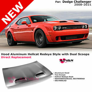 Aluminum Hood Hellcat Redeye Style With Dual Scoops For Dodge Challenger 08-21