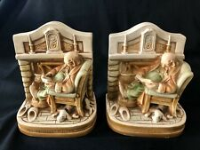 """Set of Bookends Old Man Reading Book Ceramic 7 1/2""""x4""""x6"""" Heavy Fireplace Dog"""