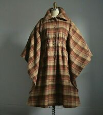 VINTAGE 70's BROWN PLAID WOOL CAPED LONG COAT with FRONT POCKETS