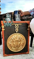 Finest English Leather Antique Inspired Side Table Trunks Amazing Gift Item