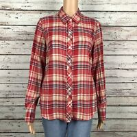 Lucky Brand Plaid Button Up Shirt SMALL Red Tan Navy Long Sleeve Cotton