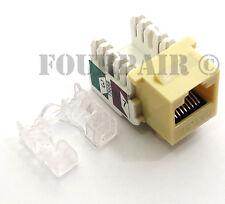 100 Pack Lot - CAT5e RJ45 110 Punch Down Keystone Modular Snap-In Jacks - Ivory