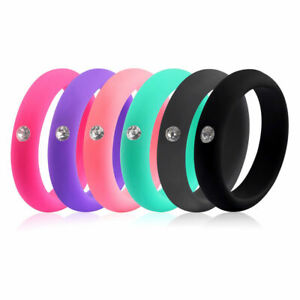 Women Diamond Silicone Wedding Engagement Ring Rubber Gym Sport Cubic Zerconia