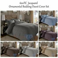 Luxury Jacquard Duvet Cover Set 600TC Damask CottonRich Bedding With Pillowcases
