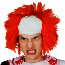 HORROR CLOWN WIG LATEX BALD CAP RED HAIR HALLOWEEN FANCY DRESS COSTUME ACCESSORY