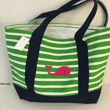 PINK WHALE CANVAS green white STRIPED beach cotton tote bag EMBROIDERED NEW