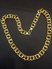 Vintage Dubai Men's Link Chain Necklace In Fine Certified 22Karat Yellow Gold