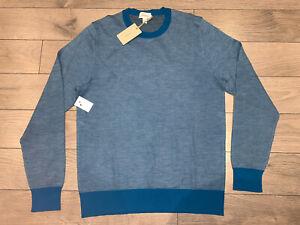 Wool Silk BRIONI Crew Neck Blue Sweater Size 46 48 52 S M XL UMQ90N P4K57 9148