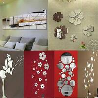 Removable Mirror Decal Art Mural Wall Stickers Home Room Decor DIY Decoration UK
