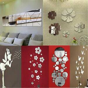 Removable Mirror Decal Art Mural Wall Stickers Home Decor DIY Room Decoration s