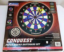 NEW Unicorn Conquest Paper Wound Dartboard Set Bronze w/ Steel Tip Darts