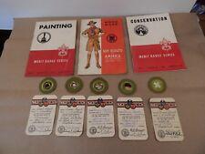 1948 vintage BOY SCOUT Merit Badges LOT of 5 Badges, Cards & Books