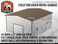 Single Car Metal Garage - 16' x 21' x 8' for $3,455