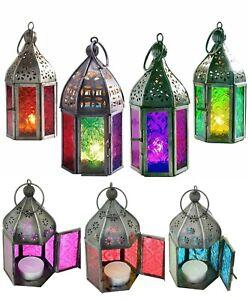Indian Tonal Glass Mini Iron Lantern Moroccan Tea Light Holder Garden Home Decor