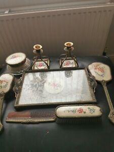 Vintage Petit Point Filigree Ormolu Vanity/Dressing Table Set