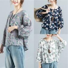New Fashion Women Floral Vintage Cotton Linen Lantern Sleeve Loose T-shirt Tops