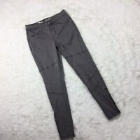 Mossimo Womens Size 0/25 Gray Super Stretch MId Rise Jeggings Pant Hem Zipper.O