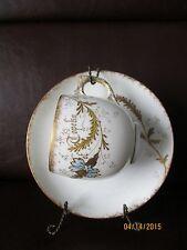 Antique Limoges AK France Bone China Demitasse Handpainted Gilded Cup & Saucer