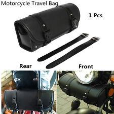Motorcycle Luggage Bag Handlebar Sissy Bar Tool Pouch Travel Barrel Bag Black PU