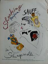 1952 Shocking de Schiaparelli perfume Snuff cologne kissing art vintage ad