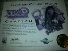 ICONS XENA Chakram ORIGINAL COA Paperwork Certificate MINT