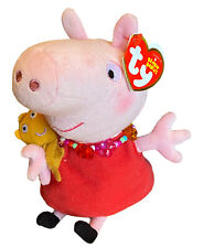 """Ty Peppa Pig 8"""" Plush Necklace Red Dress Pink Stuffed Toy Tags FAST SHIPPING"""
