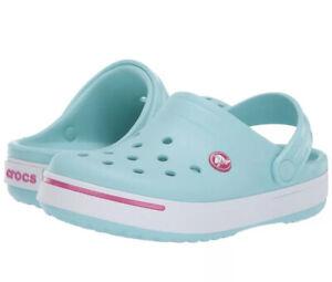 Crocs Kids Crocband II Clogs, Junior's US Size 3, J3, Ice Blue & Candy Pink NEW