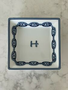 Hermes Blue Chaine d'Ancre Square Dish Plate Tray 8 x 8 cm