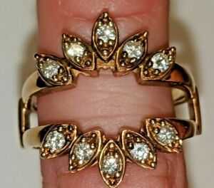VINTAGE S&S 14K YELLOW GOLD DIAMONDS RING ENHANCER WRAP ABOUT SIZE 9 1/2 SIGNED