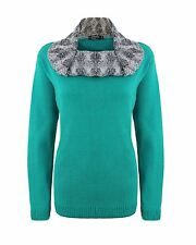 Ladies Womens Knitted High Neck Bubble Knit Long Sleeve Jumper Green Sweater Top