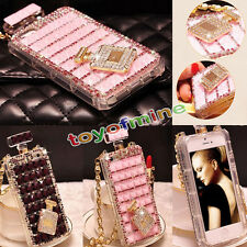 Luxury Bling Crystal Diamond Perfume Bottle Chain Case Cover For IPhone Samsung