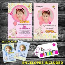 Personalised Girls First Birthday Invitations OR 1st Birthday Thank You card x 5