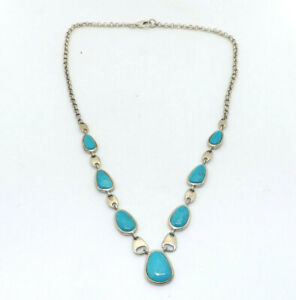 Whitney Kelly Sterling Silver Turquoise Drop Necklace, 18.2g