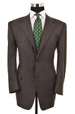 Canali Gray Brown FLANNEL Wool Glen Plaid Check 2pc Suit Jacket Pants 50 40 R