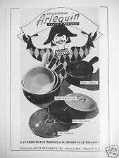 PUBLICITÉ 1957 LE CREUSET ENSEMBLE ARLEQUIN FONTE ÉMAILLÉE - ADVERTISING