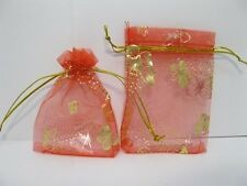 100 Red Butterfly Drawstring Jewelry Gift Pouches 9x7cm